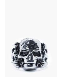 Boohoo | Metallic Sliver Skull Ring for Men | Lyst