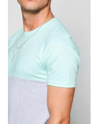 Boohoo Blue Longline Muscle Fit Half And Half T-shirt for men