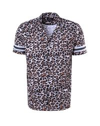 Boohoo Blue French Leopard Revere Shirt Co-ord for men