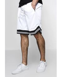 Boohoo White Basket Ball Shorts With Sports Rib for men