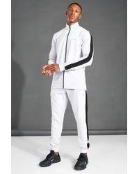 BoohooMAN Gray Man Active Zip Funnel Neck Side Stripe Tracksuit for men