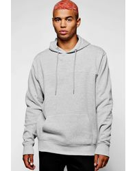 Boohoo - Gray Over The Head Hoodie With Piping for Men - Lyst