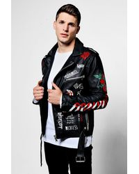 Boohoo Black Faux Leather Graffiti Print Biker Jacket for men