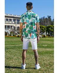 Boohoo Green French Montana Palm Print Short Sleeve Shirt for men