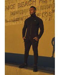 BoohooMAN Black Active Man Funnel Gym Tracksuit for men