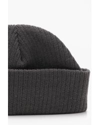 Boohoo Gray Ribbed Knit Short Fit Beanie With Turn Up for men