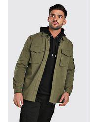 BoohooMAN Green Long Sleeve Utility Pocket Overshirt for men