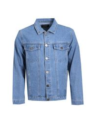 Boohoo - Mid Blue Denim Jacket With Photo Back Print for Men - Lyst