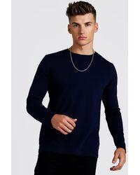 BoohooMAN Blue T-shirt Basique À Manches Longues for men
