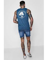 Boohoo Gray Venice Beach Print Scoop Neck Vest for men