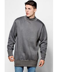 Boohoo Gray Oversized Turtle Neck Sweater for men