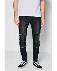 9371956e876ae Boohoo Skinny Fit Jeans With Zipped Biker Panelling in Black for Men ...