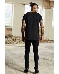 Boohoo Black Dele Longline Distressed T-shirt for men