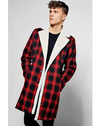 Boohoo Red Longline Faux Fur Lined Check Overcoat for men