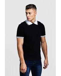 BoohooMAN Black Pique Polo T-shirt for men
