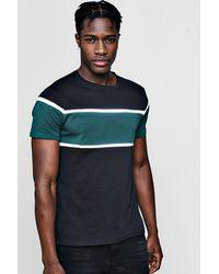 Boohoo - Black Colour Block Chest Panel T Shirt for Men - Lyst