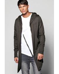 BoohooMAN Green Longline Hooded Cardigan With Extended Cuff for men