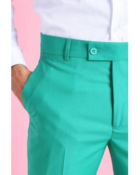 BoohooMAN Green Skinny Plain Cropped Suit Pants for men
