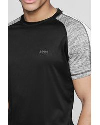 Boohoo Black Active Man Raglan Colour Block Gym T-shirt for men
