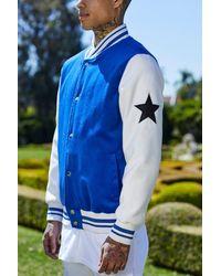Boohoo Blue Varsity Star Badge Bomber for men