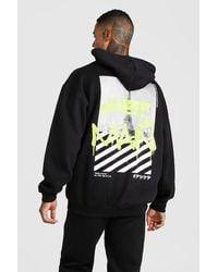 BoohooMAN Black Trainingsanzug Mit Kapuze Und Man Graffiti Paris-print Auf Dem Rücken for men