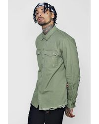 Boohoo Green Distressed Detail Utility Shirt for men