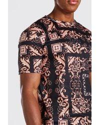 BoohooMAN Blue Muscle Fit Original Man Baroque Print T-shirt for men