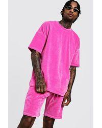 BoohooMAN Pink Velours-set Aus T-shirt Mit Überschnittenen Schultern Und Shorts for men
