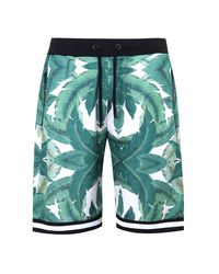 BoohooMAN Green French Leaf Print Basketball Short Co-ord for men