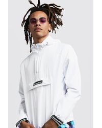 BoohooMAN White Hooded Cagoule With Rubber Branding for men