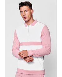 BoohooMAN Pink Long Sleeve Colour Block Pique Polo for men