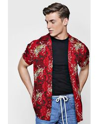 BoohooMAN Red Short Sleeve Tiger Print Revere Shirt for men