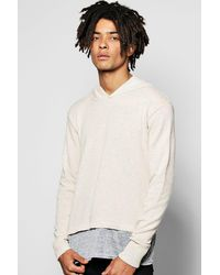 Boohoo - Multicolor Hooded Knitted Jumper With Jersey Insert for Men - Lyst