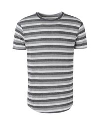 e95962410947 Boohoo Knitted Double Stripe Longline Curved Hem T-shirt in Gray for ...