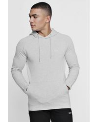 BoohooMAN Gray Active Over The Head Embroidered Gym Hoodie for men