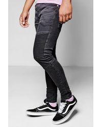 88b3e21bbc303 Boohoo Black Denim Biker Jeans In Skinny Fit in Black for Men - Lyst