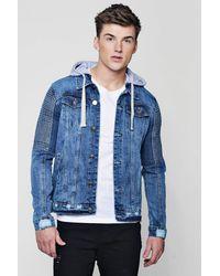 Boohoo Blue Biker Detail Hooded Denim Jacket for men