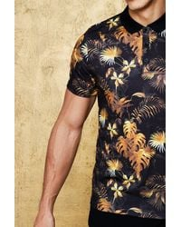 BoohooMAN - Black Muscle Fit Gold Floral Polo for Men - Lyst