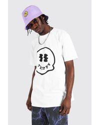 BoohooMAN White Oversized Tonal Drip Face Print T-shirt for men
