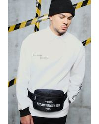 BoohooMAN Black Nylon Bumbag With Aw Front Pocket Print for men