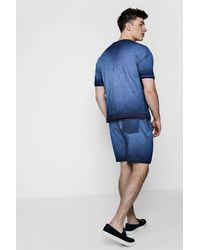 Boohoo Blue Acid Wash Mid Jersey Co-ord Shorts for men