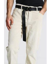 BoohooMAN Black Webbing Belt With Metal Utility Buckle for men