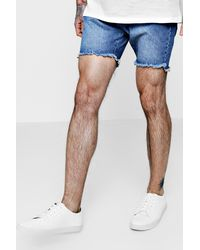 Boohoo Blue Slim Fit Denim Shorts With Raw Stepped Hem for men
