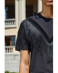 Boohoo Black Super Longline Tassel T-shirt for men
