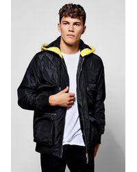 Boohoo Black Polyester Multi Pocket Utility Jacket for men