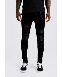 BoohooMAN Black Super Skinny Repair Biker Jeans With Chain for men