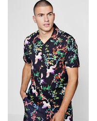 Boohoo Black Short Sleeve Oriental Bird Print Revere Shirt for men