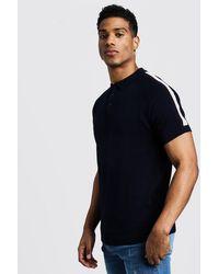 BoohooMAN Blue Arm Stripe Short Sleeve Polo for men