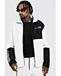 BoohooMAN White Borg Jacket With Contrast Panels for men