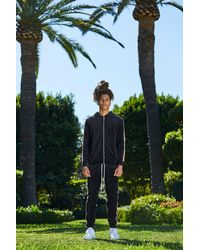 Boohoo Black French Velour Tracksuit With Stripe for men